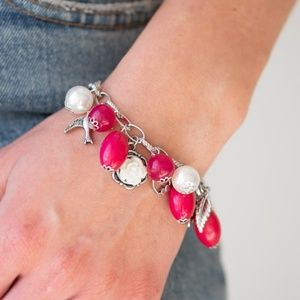 Silver Charm Bracelet with Pink & White Beads